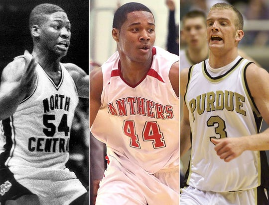 North Central assistants, left to right, Bill Gillis (North Central), D'Vauntes Smith-Rivera (North Central) and Brett Buscher (Chesterton, Purdue).