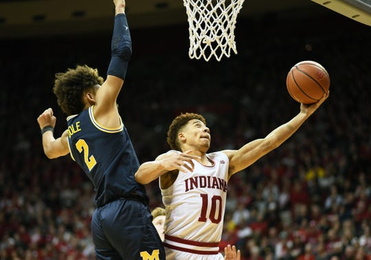 Indiana Hoosiers guard Rob Phinisee (10) drives to the basket during the game against Michigan at Simon Skjodt Assembly Hall in Bloomington, Ind.