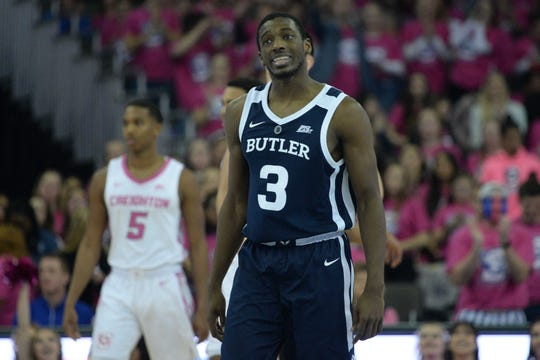 Butler Bulldogs guard Kamar Baldwin (3) reacts to a call late in the game against the Creighton Bluejays in the second half at CHI Health Center Omaha.