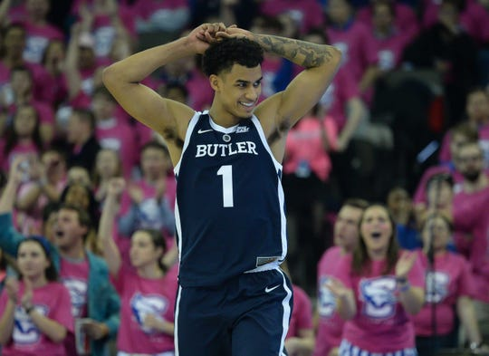 Butler Bulldogs forward Jordan Tucker (1) reacts to a call in the game against the Creighton Bluejays in the second half at CHI Health Center Omaha.