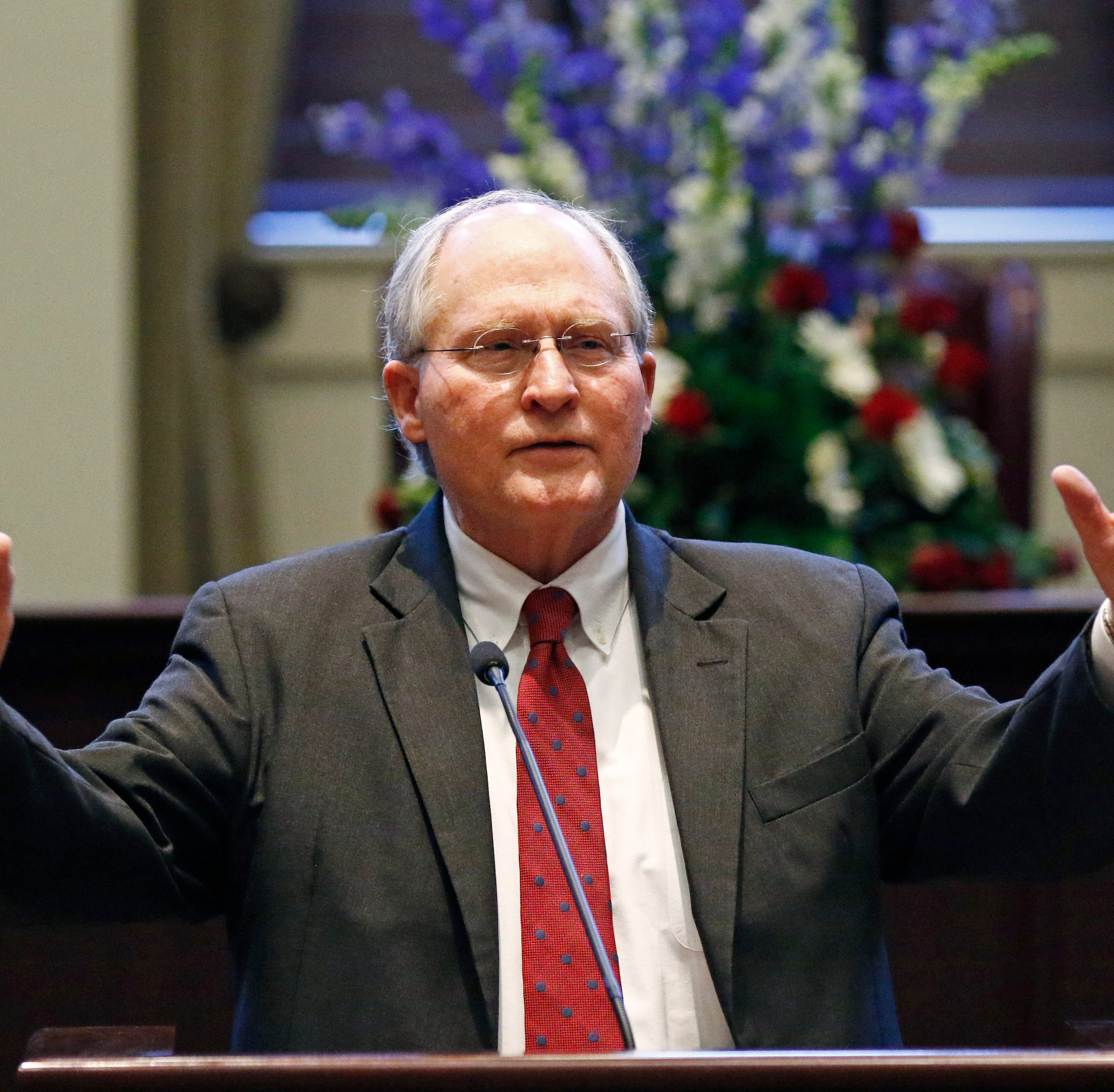 Mississippi Supreme Court Chief Justice William L. Waller Jr., speaks to the audience at his retirement ceremony in the Mississippi Supreme Court chambers in Jackson, Miss., Friday, Jan. 25, 2019. Waller spoke of the accomplishments within the state judicial system during his tenure as a judge. Waller officially retires on January 31 after more than 21 years of service on the Supreme Court and 10 years as Chief Justice. (AP Photo/Rogelio V. Solis)