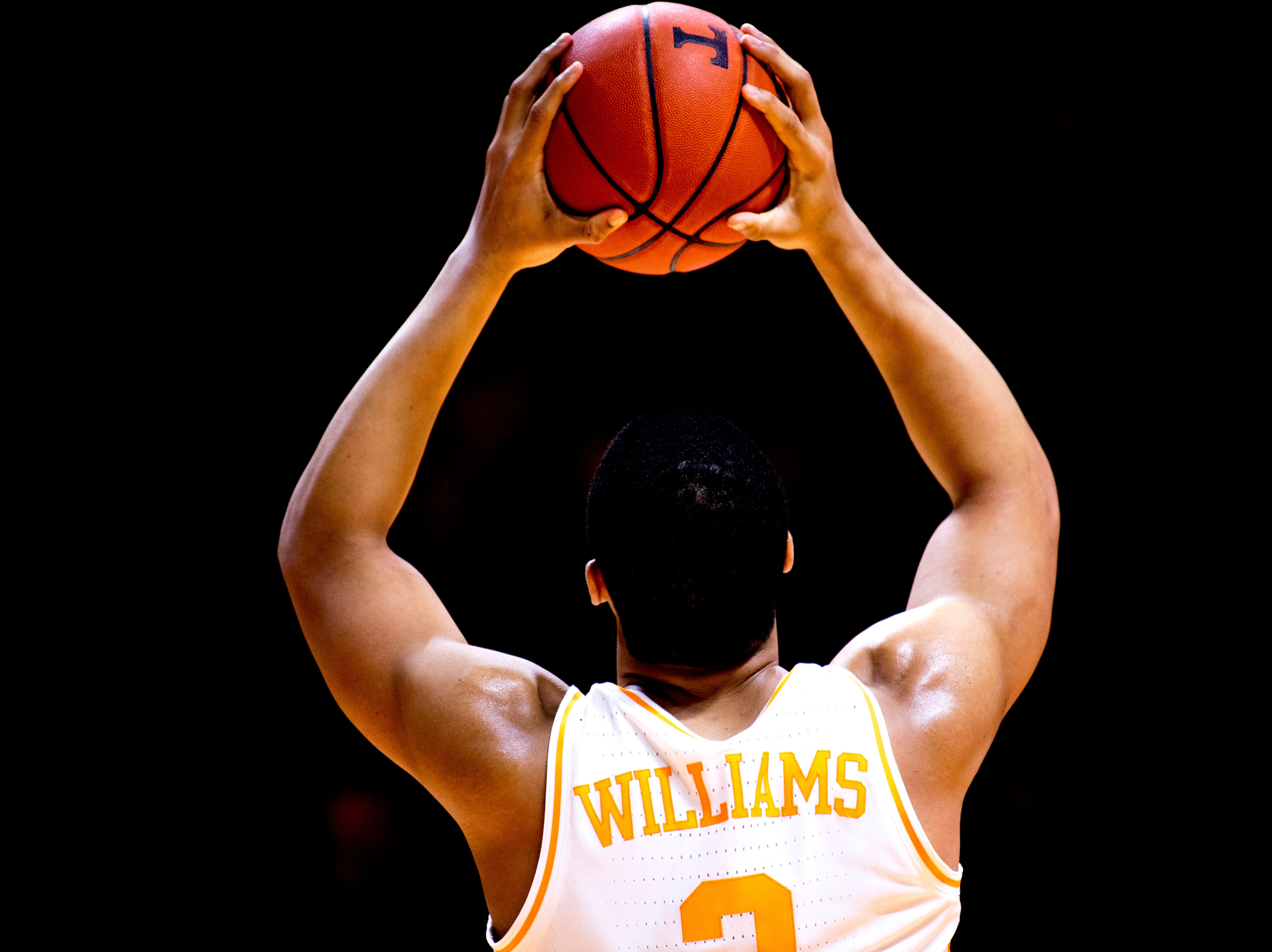 Tennessee forward Grant Williams (2) reacts after a play during a SEC/Big 12 Challenge game between Tennessee and West Virginia at Thompson-Boling Arena in Knoxville, Tennessee on Saturday, January 26, 2019.