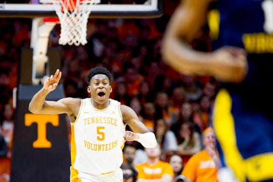 Tennessee guard Admiral Schofield (5) reacts to a play during a SEC/Big 12 Challenge game between Tennessee and West Virginia at Thompson-Boling Arena in Knoxville, Tennessee on Saturday, January 26, 2019.