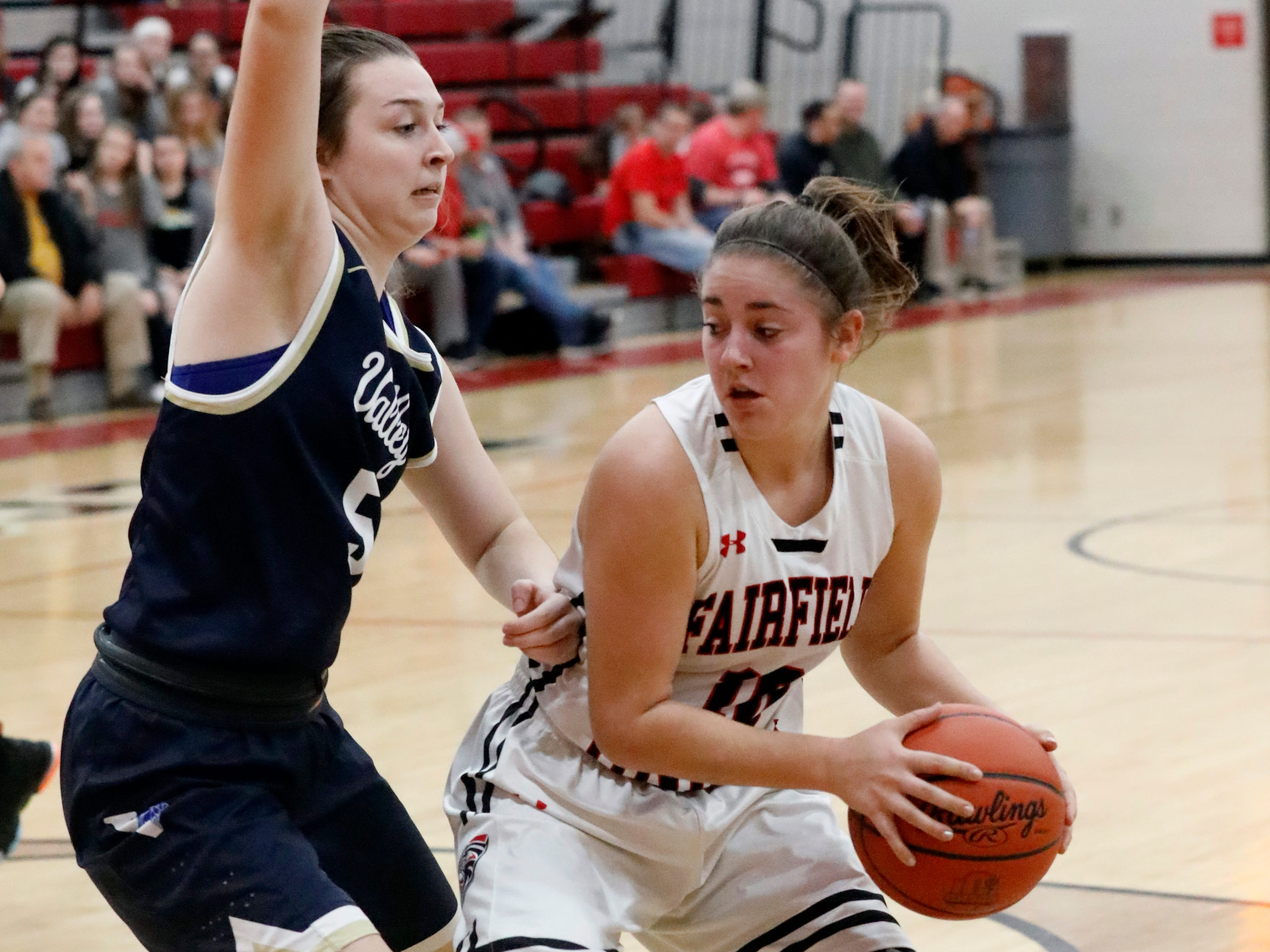 Fairfield Union's Hannah Burnside pivots during Friday night's game, Jan. 25, 2019, against Teays Valley at Fairfield Union High School in Rushville. The Falcons lost the game 67-42.