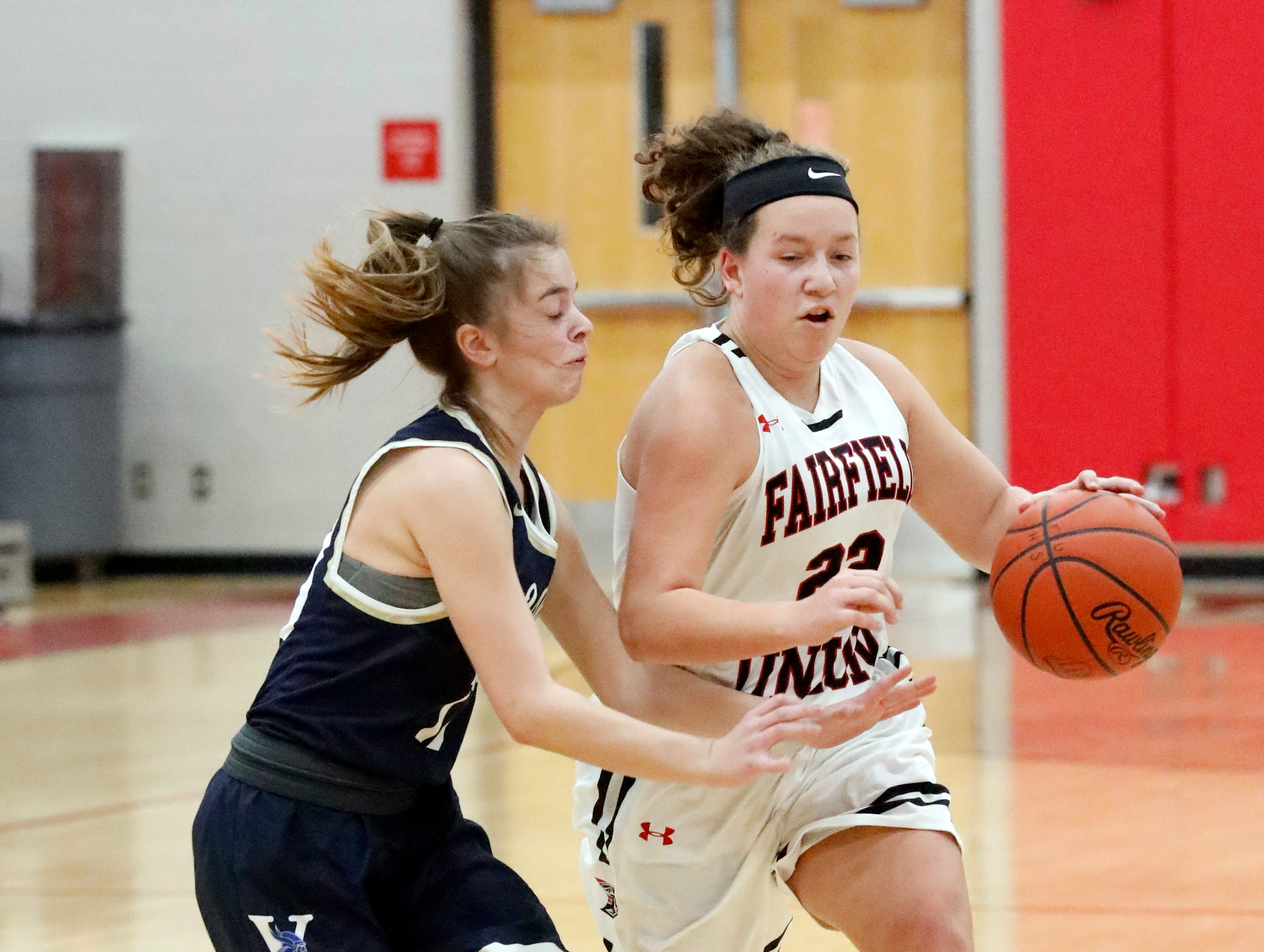 Fairfield Union's Katie Burke brings the ball down the court during Friday night's game, Jan. 25, 2019, against Teays Valley at Fairfield Union High School in Rushville.