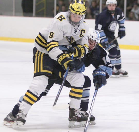 Hartland's Joey Larson (9) is the third Livingston County recipient of the Mr. Hockey award.