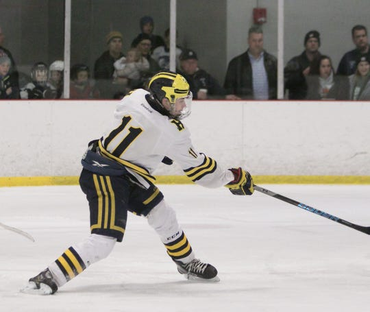 Hartland' Gabe Anderson ties the game, 2-2, on this shot with 13:18 left in the game, but Livonia Stevenson answered 42 seconds later to win, 3-2, on Friday, Jan. 25, 2019.
