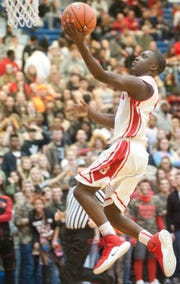 Butler guard Maurice Tolley gets to the basket in a January game vs. PRP.