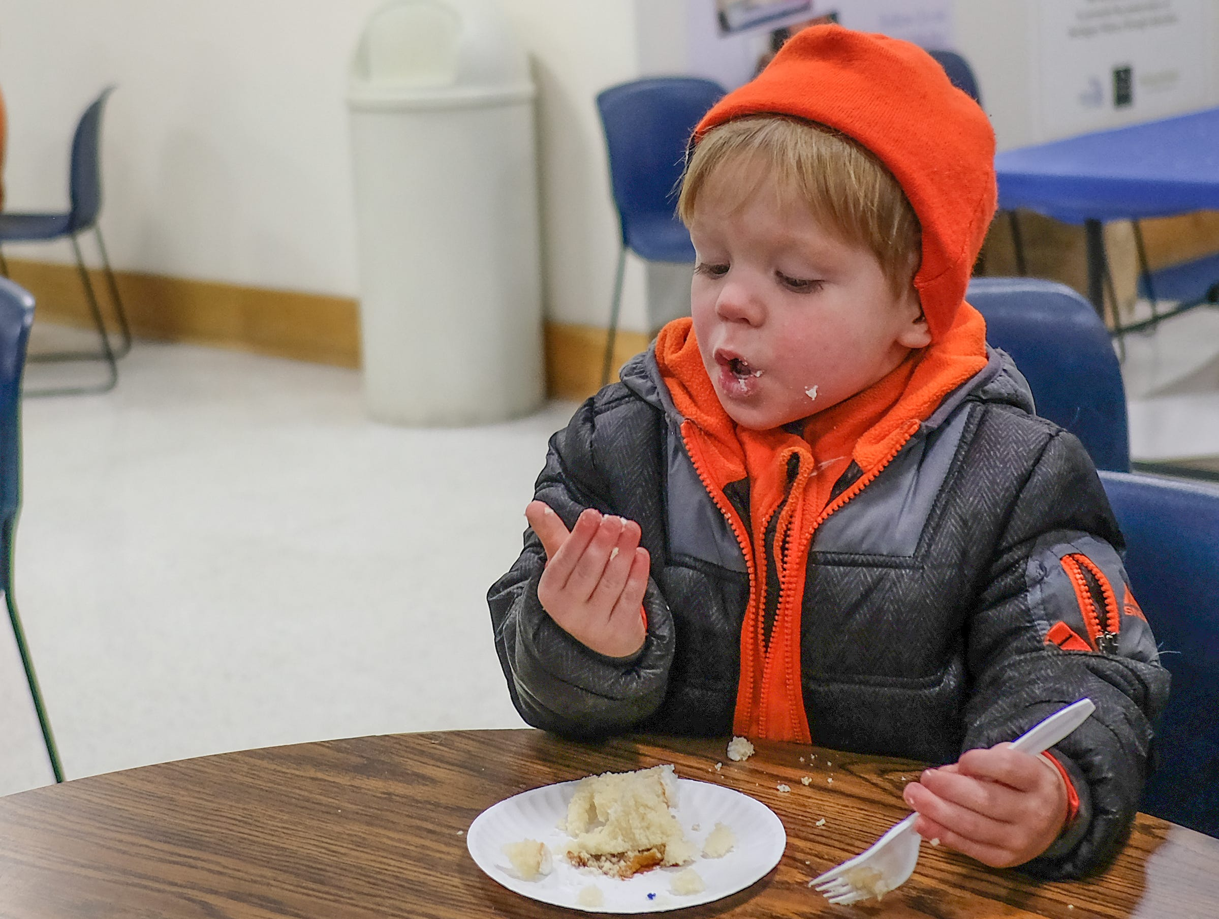 Finn Vargo, 2, from Albion enjoys the cake at the Welcome to Statehood Day 2019 event at the Michigan Library and Historical Center Saturday, Jan. 26, 2019. Michigan became a state on this day in 1837.