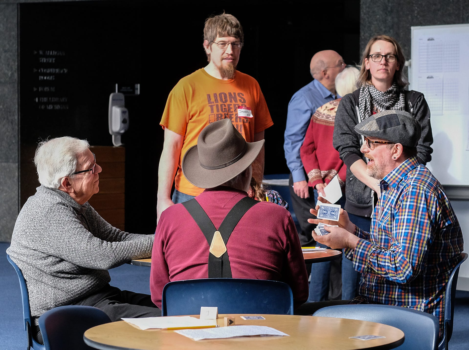 Euchre is played at the Welcome to Statehood Day 2019 event at the Michigan Library and Historical Center Saturday, Jan. 26, 2019. Michigan became a state on this day in 1837.