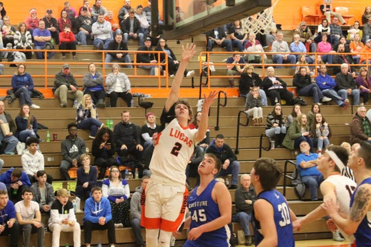 Lucas' Carson Hauger scores on a layup during the Cubs' win over Crestline earlier in the season.