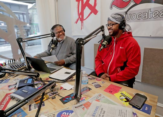 Earl Ingram Jr. (left) broadcasts his radio show with his guest Ramel Kweku Akyirefi Smith, one of the most prominent and  best credentialed psychologists in Milwaukee's African American community.