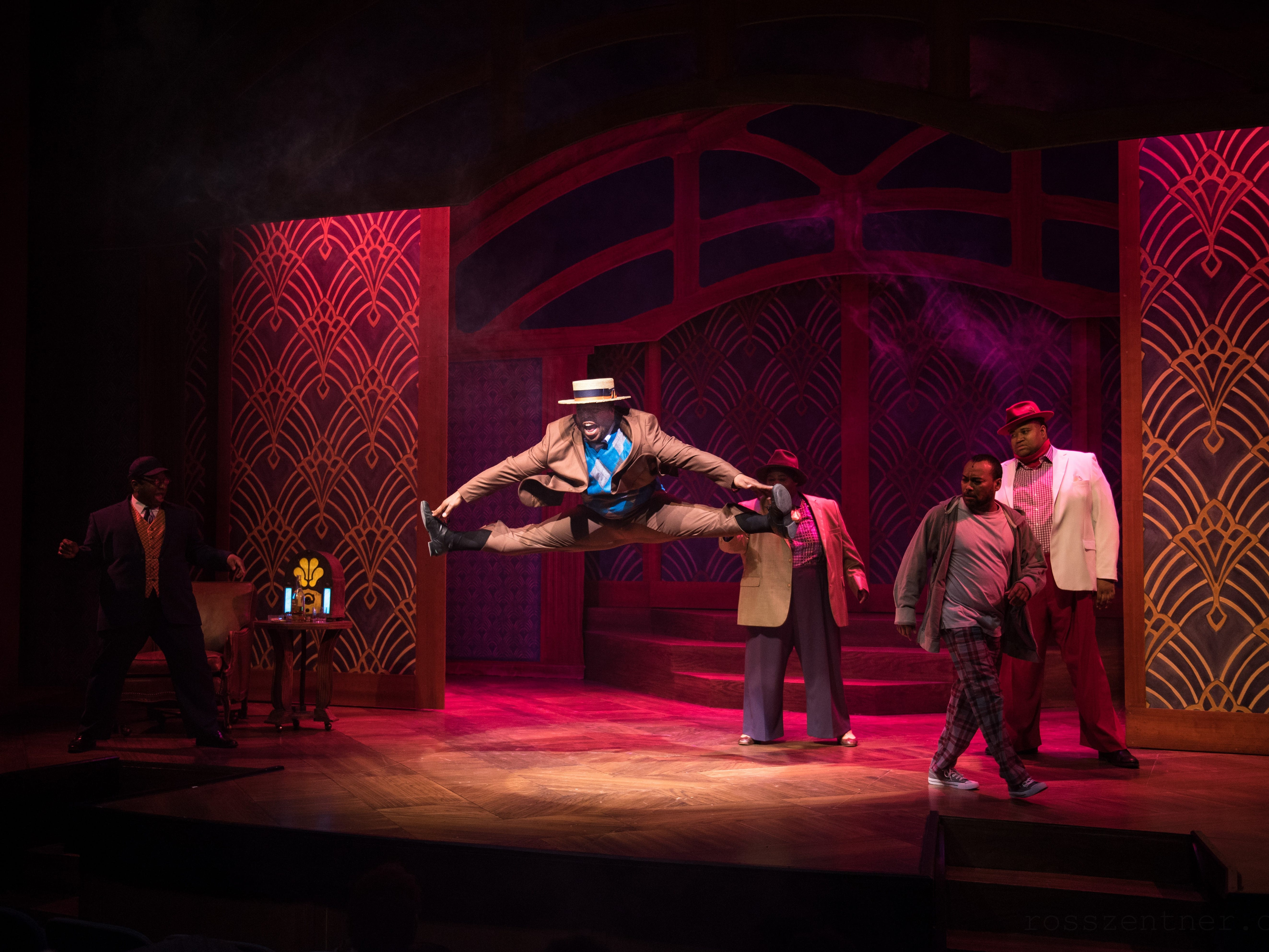 """No Moe (Shawn Holmes, center) takes to the air in Skylight Music Theatre's production of """"Five Guys Named Moe."""" The musical celebrates the music of jump-blues bandleader Louis Jordan."""