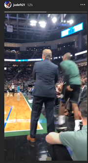 Jeremy Jeffress was mighty close to the action at the Jan. 25, 2019 Bucks game.