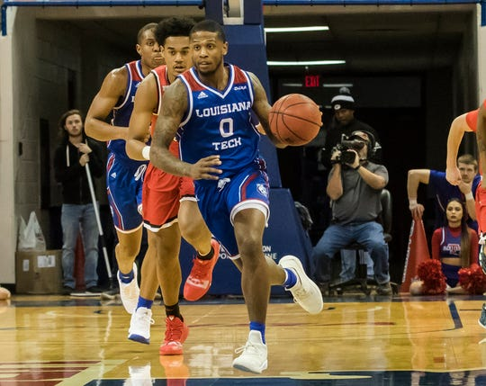 Louisiana Tech's Ra'Shawn Langston (0) brings the ball back down court during the game against Western Kentucky at the Thomas Assembly Center in Ruston, La. on Jan. 26.