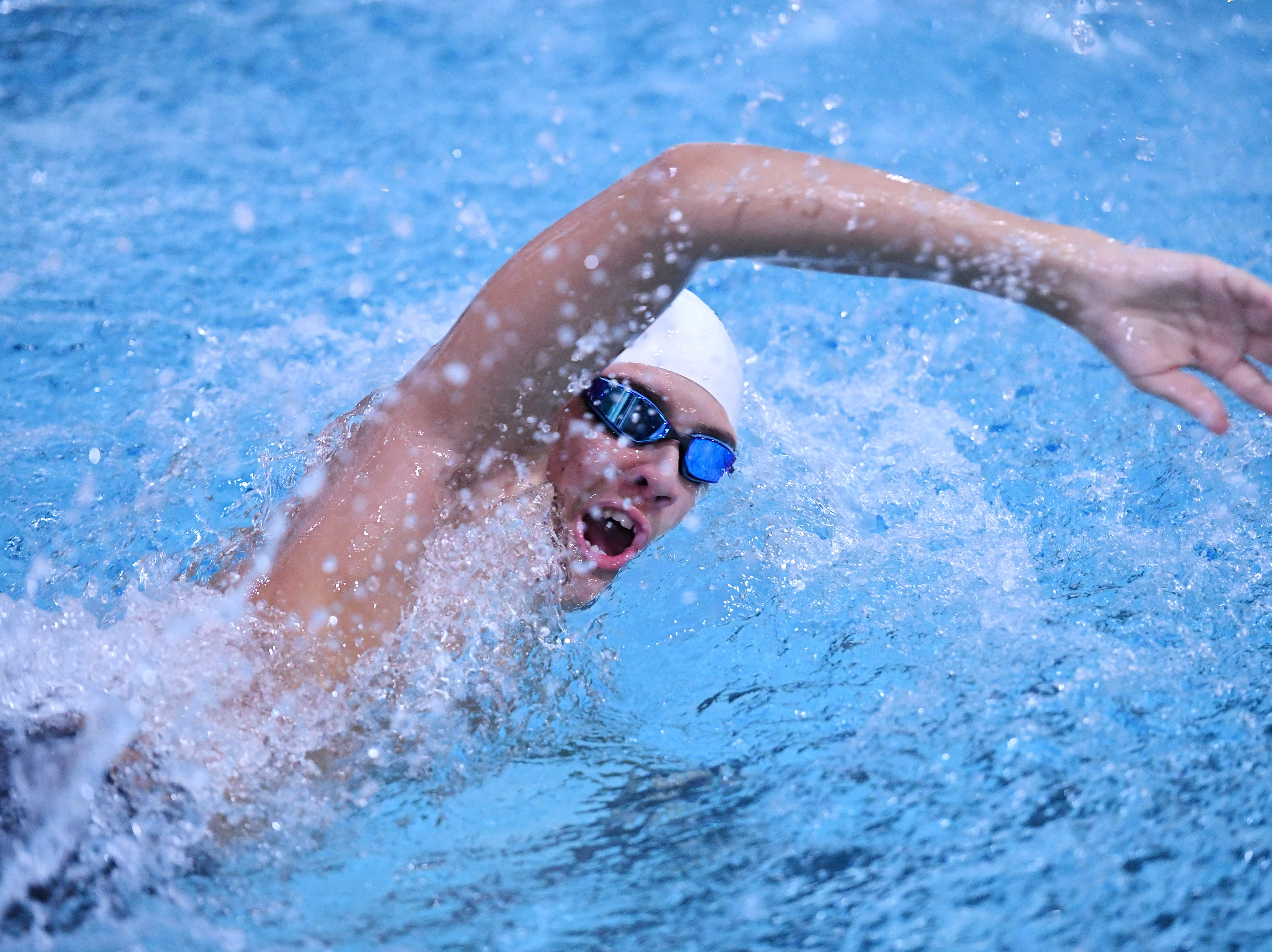 Morris County Swimming Championships at Morristown High School on Saturday, January 26, 2019. Andrew Gaston of Delbarton in the Boys 400 SC Meter Freestyle.
