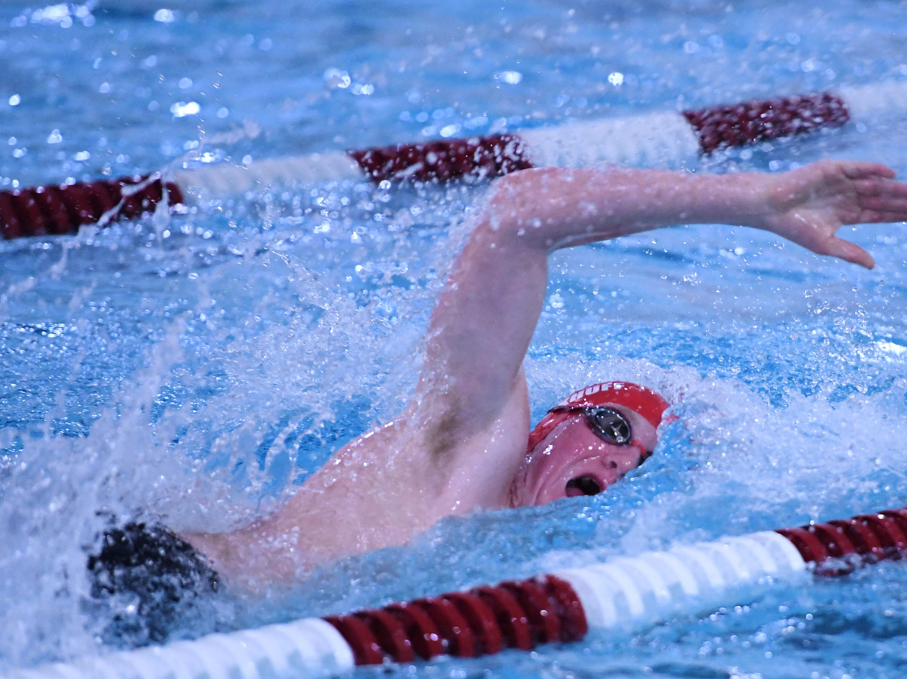Morris County Swimming Championships at Morristown High School on Saturday, January 26, 2019. Will Carkhuff of Mendham in the Boys 100 SC Meter Freestyle.