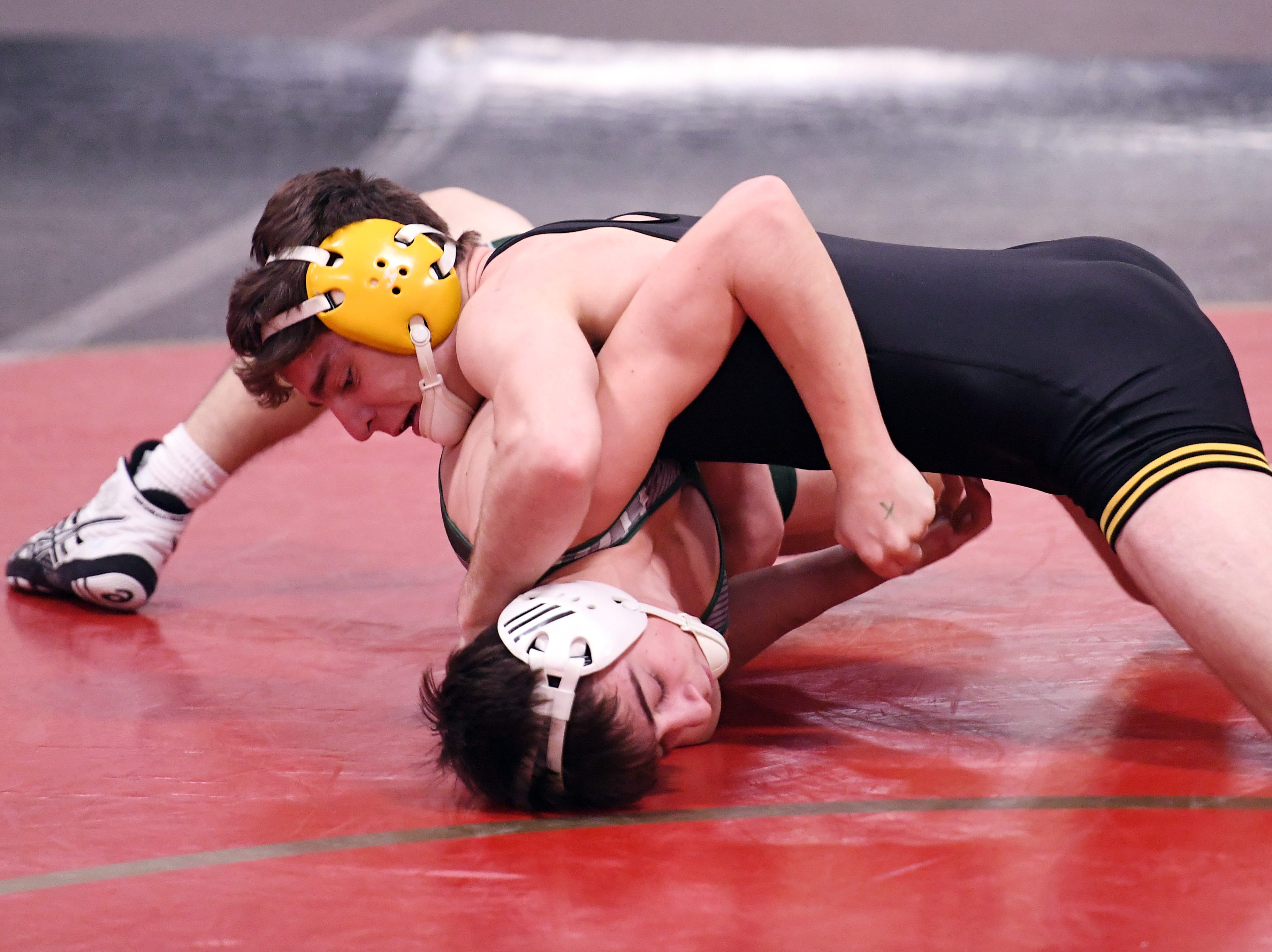 Domenic Difrancescantonio of Hanover Park on his way to defeating Christopher DiRubba of Kinnelon in their 132-pound match at the Morris County Tournament wrestling opening round at Mount Olive High School on Friday, January 25, 2019.