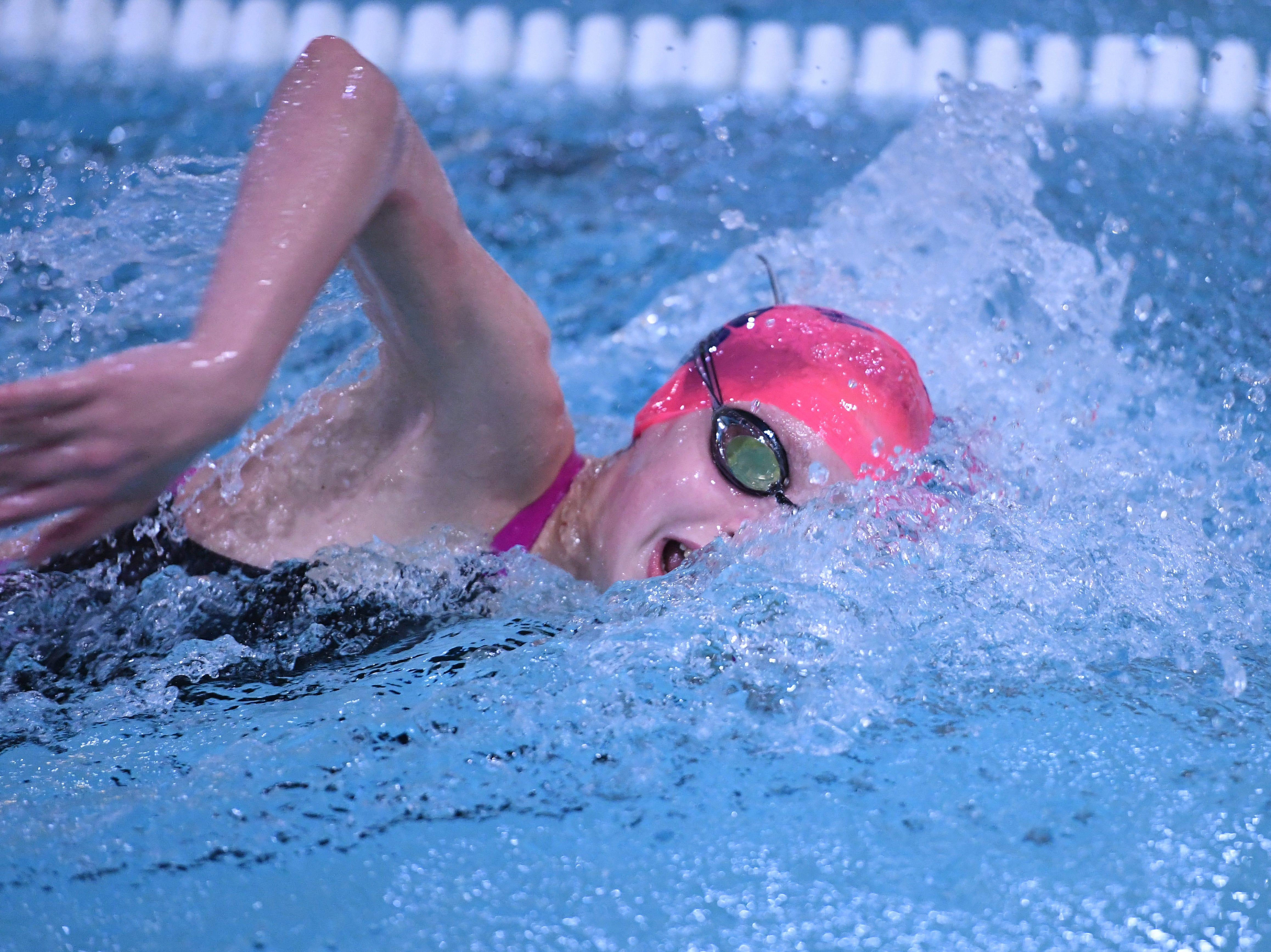 Morris County Swimming Championships at Morristown High School on Saturday, January 26, 2019. Sara Barrett of Chatham swims the 400-meter freestyle.