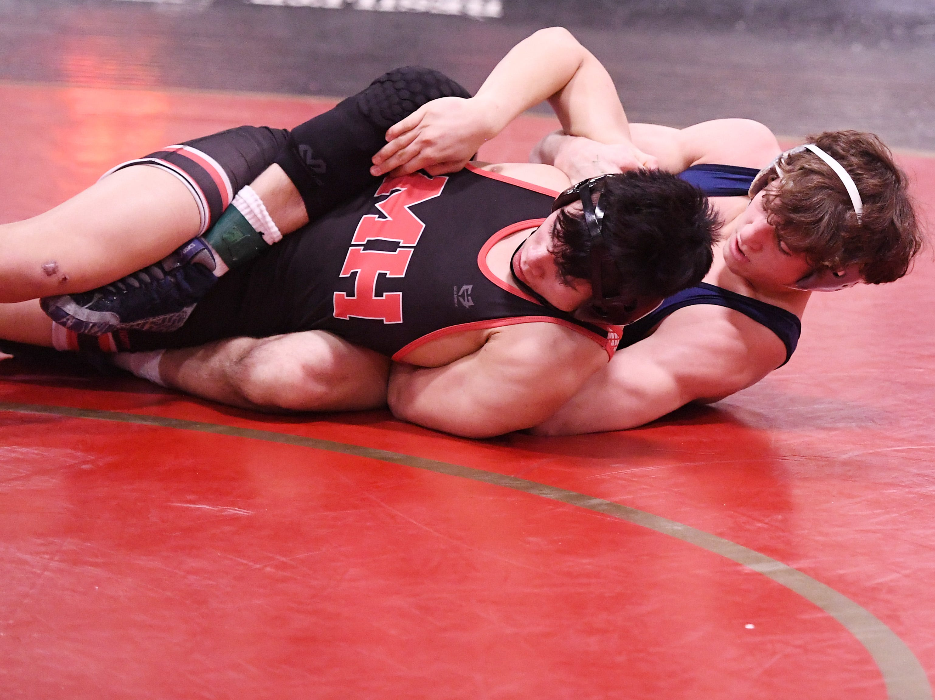 Morris County Tournament wrestling opening round at  Mount Olive High School on Friday, January 25, 2019. Justin LeMay of West Morris on his way to defeating Nate Bachelder of Morris Hills in their 152-pound match.