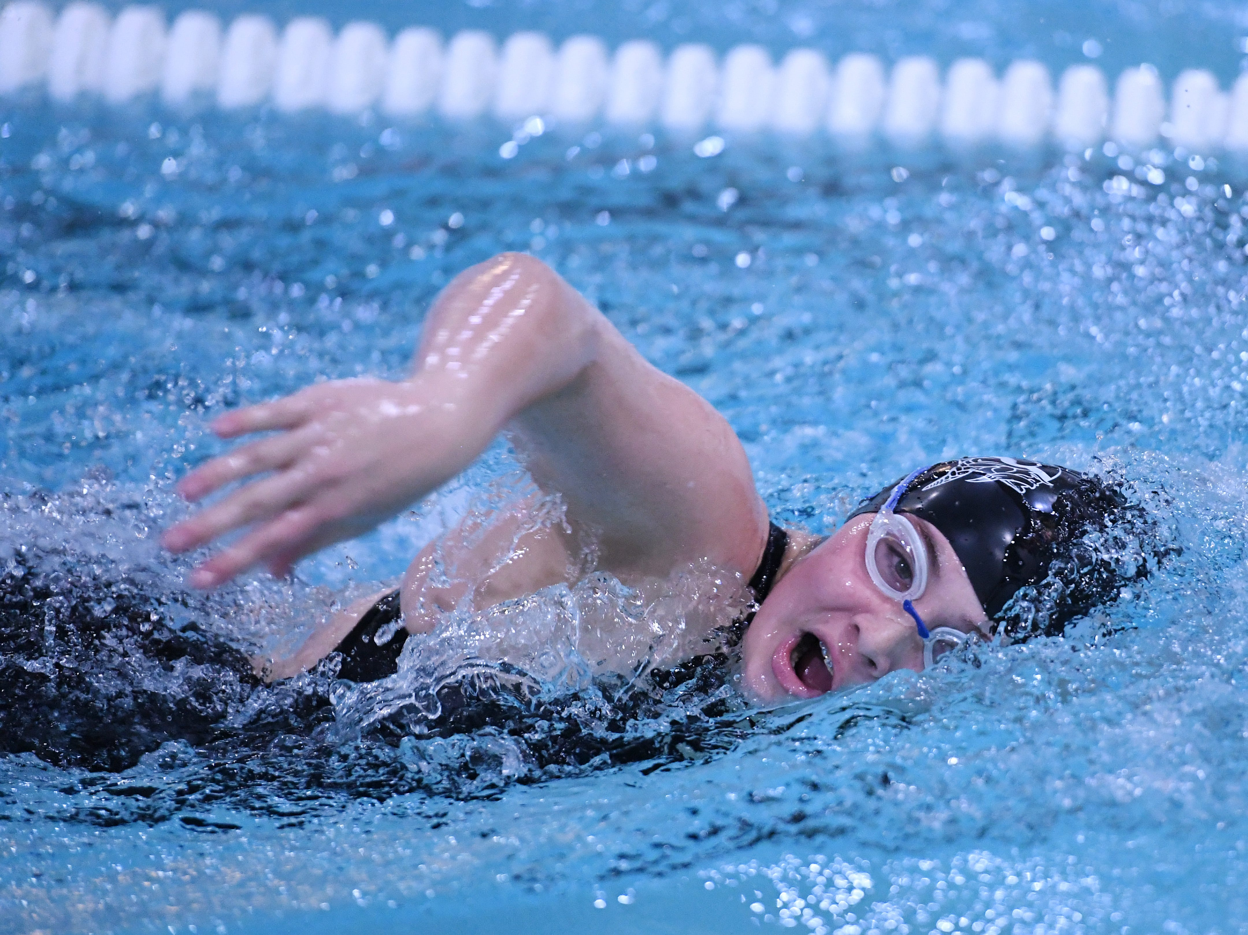 Morris County Swimming Championships at Morristown High School on Saturday, January 26, 2019. Reagan Moffatt of Parsippany Hills in the Girls 400 SC Meter Freestyle.