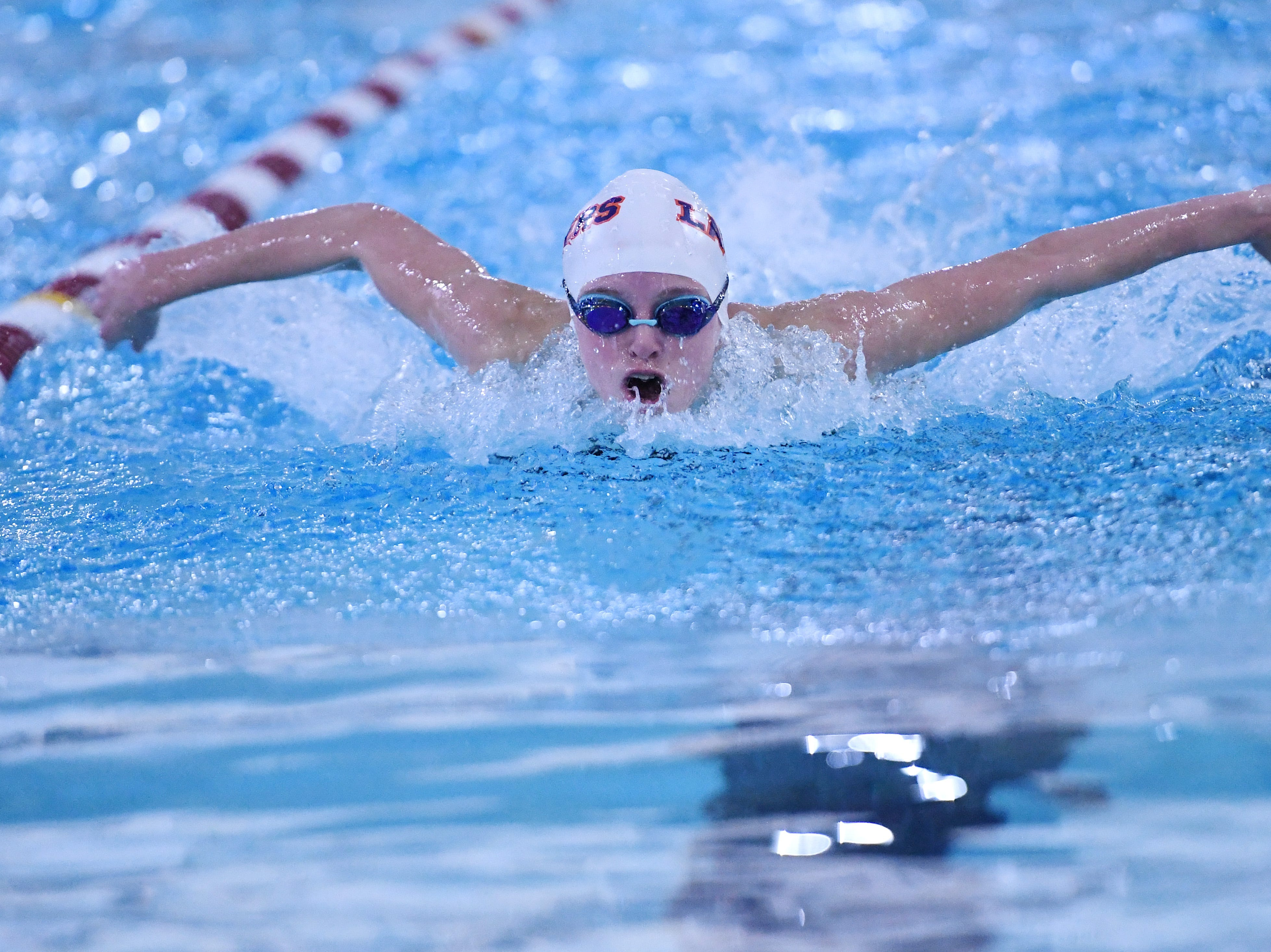 Morris County Swimming Championships at Morristown High School on Saturday, January 26, 2019. Lily Hann of Mountain Lakes in the Girls 100 SC Meter Butterfly.
