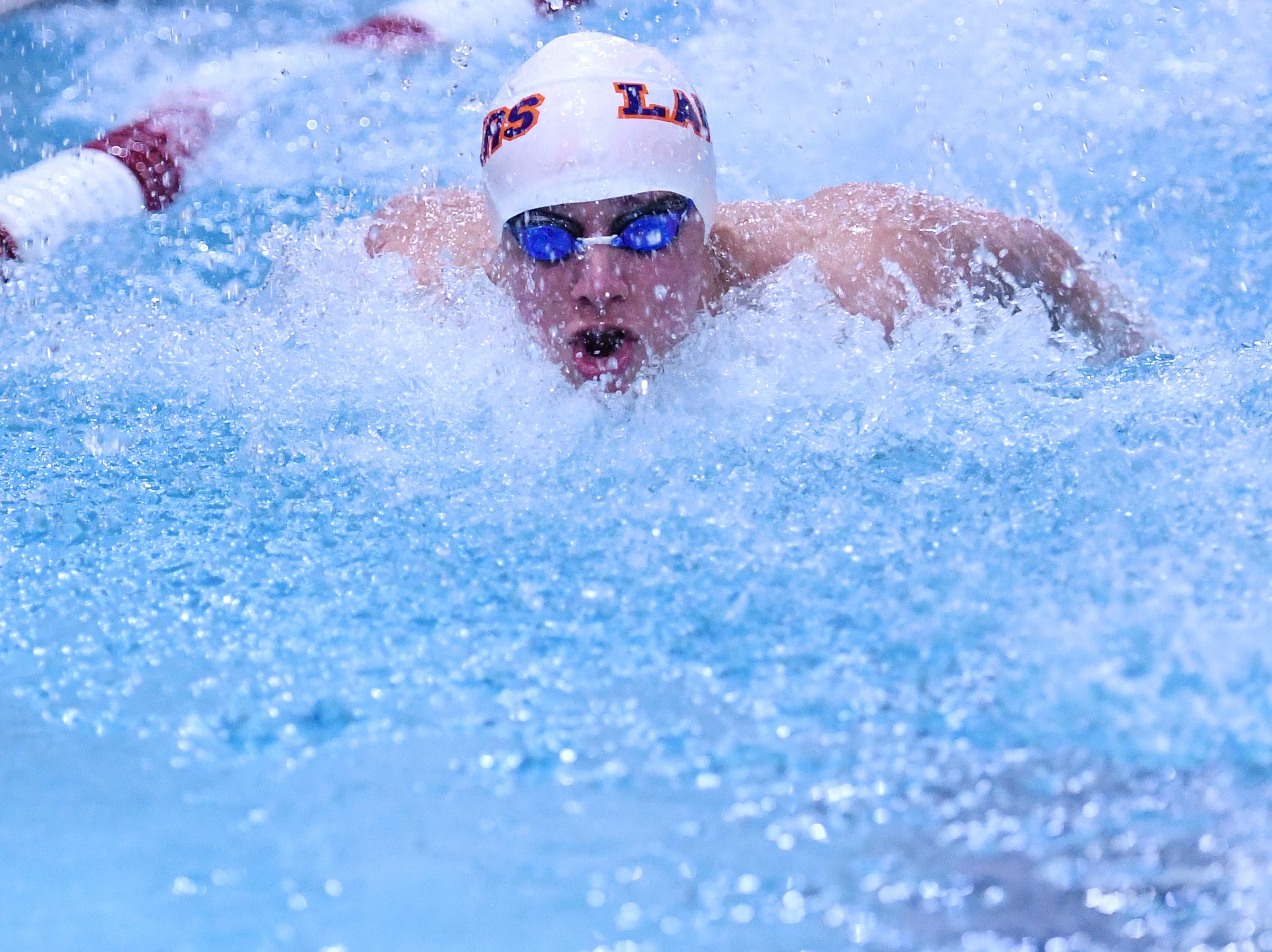 Morris County Swimming Championships at Morristown High School on Saturday, January 26, 2019. Luke Leshnower of Mountain Lakes in the Boys 100 SC Meter Butterfly.