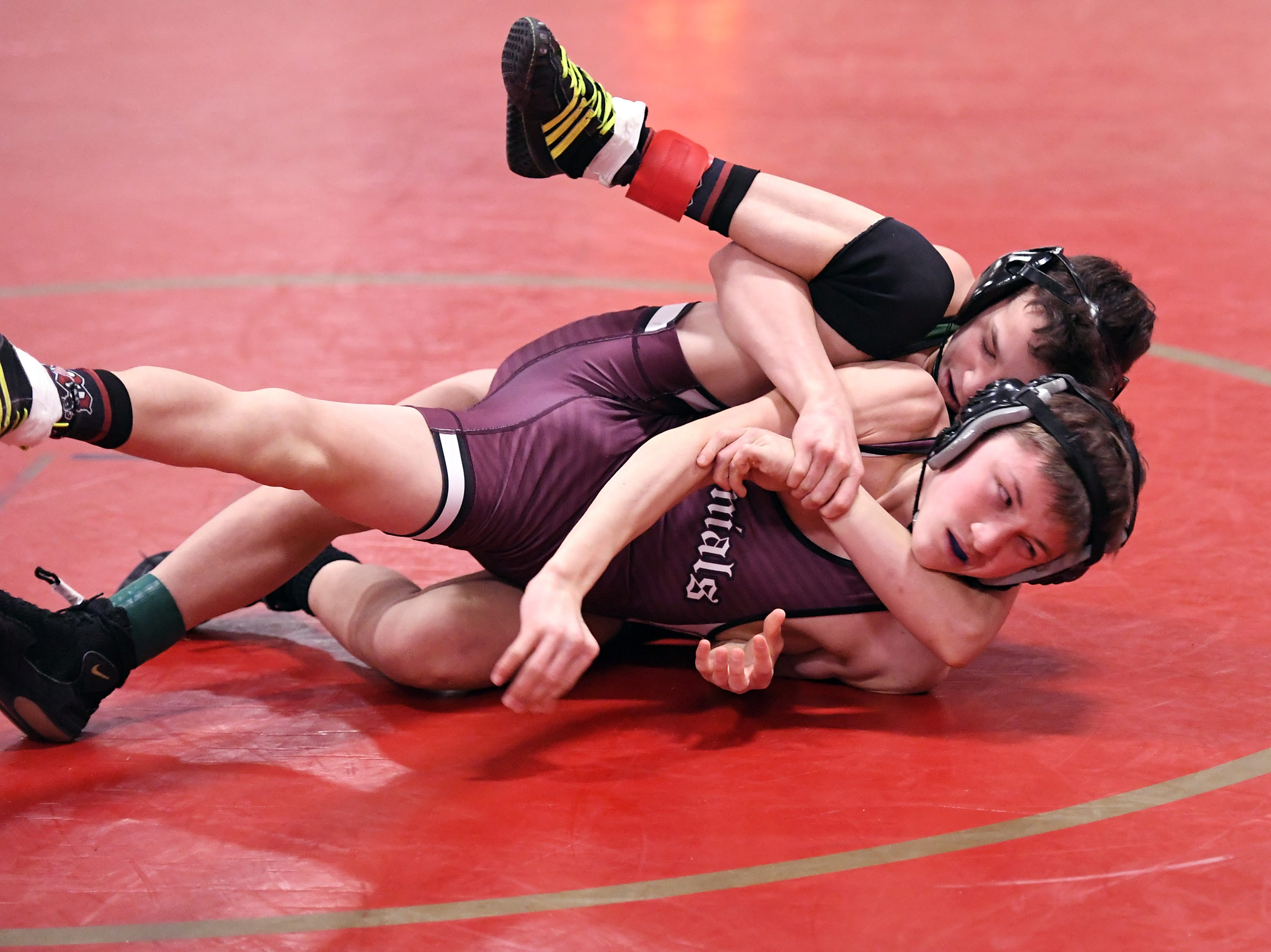 Morris County Tournament wrestling opening round at  Mount Olive High School on Friday, January 25, 2019. Aaron Kurzer of Montville on his way to defeating Mason Gervasio of Morristown in their 106 pound match.