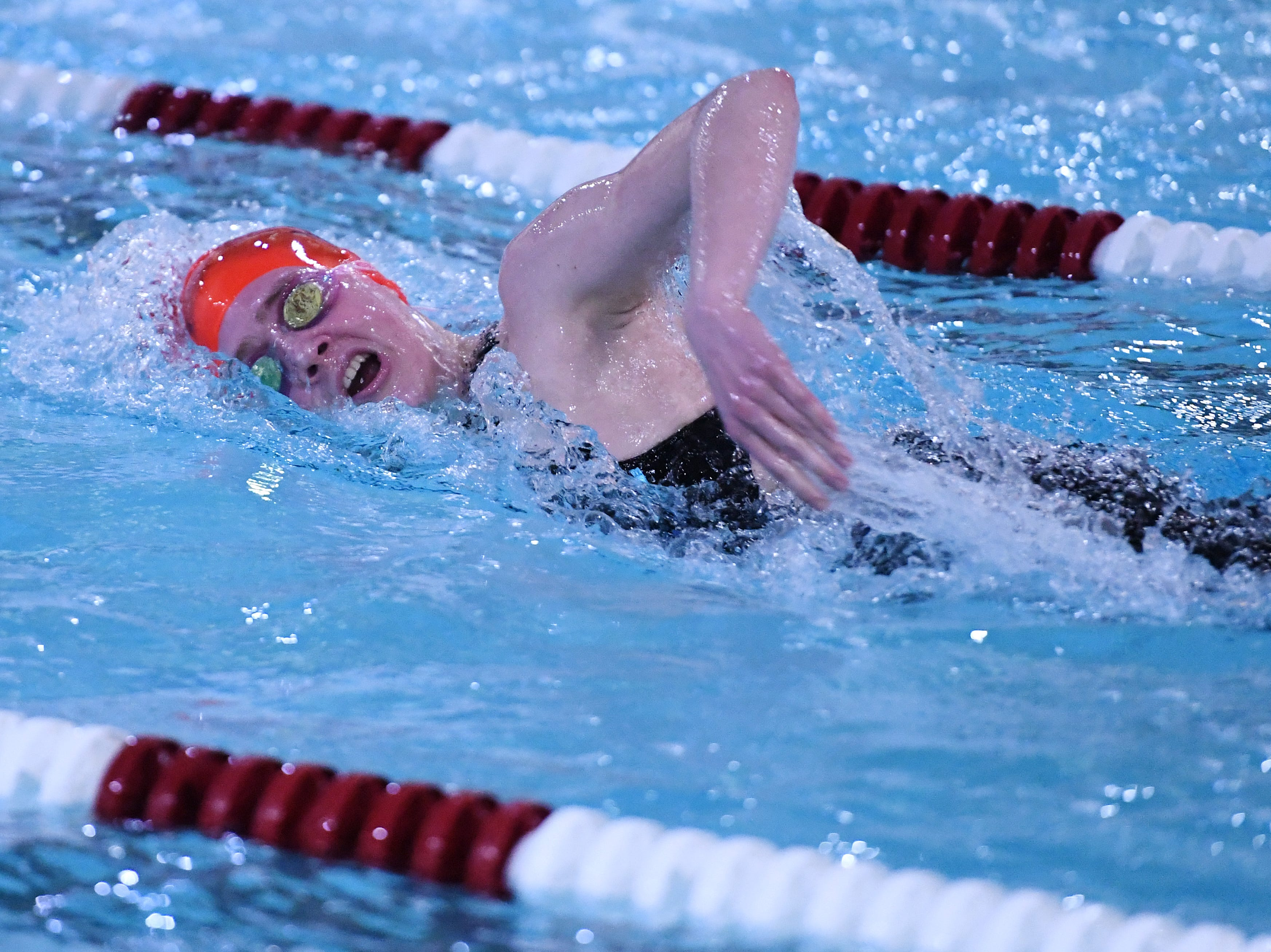 Morris County Swimming Championships at Morristown High School on Saturday, January 26, 2019. Grace Miller of Morristown won the 200- and 400-meter freestyle.