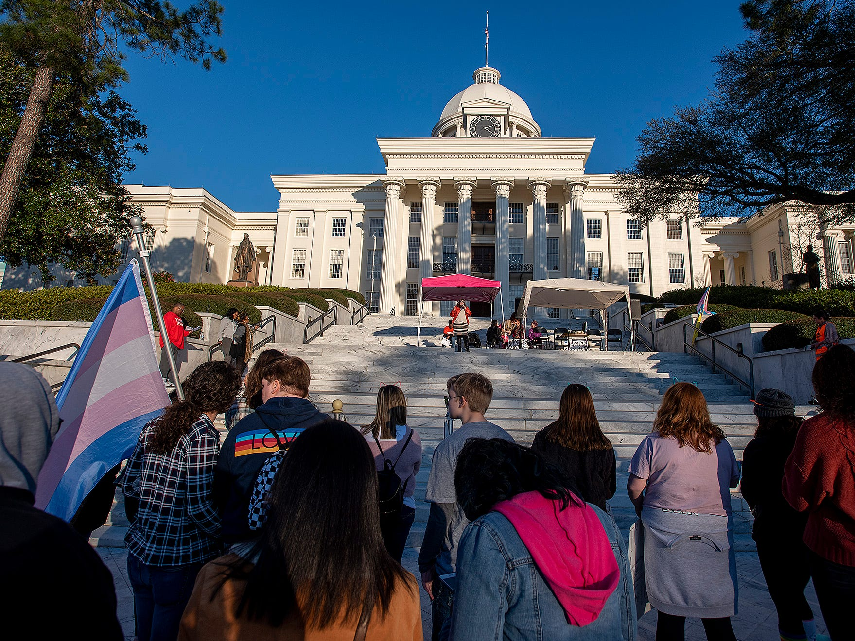 Marchers rally on the steps of the State Capitol Building during the Montgomery Women's March in downtown Montgomery, Ala., on Saturday January 26, 2019.