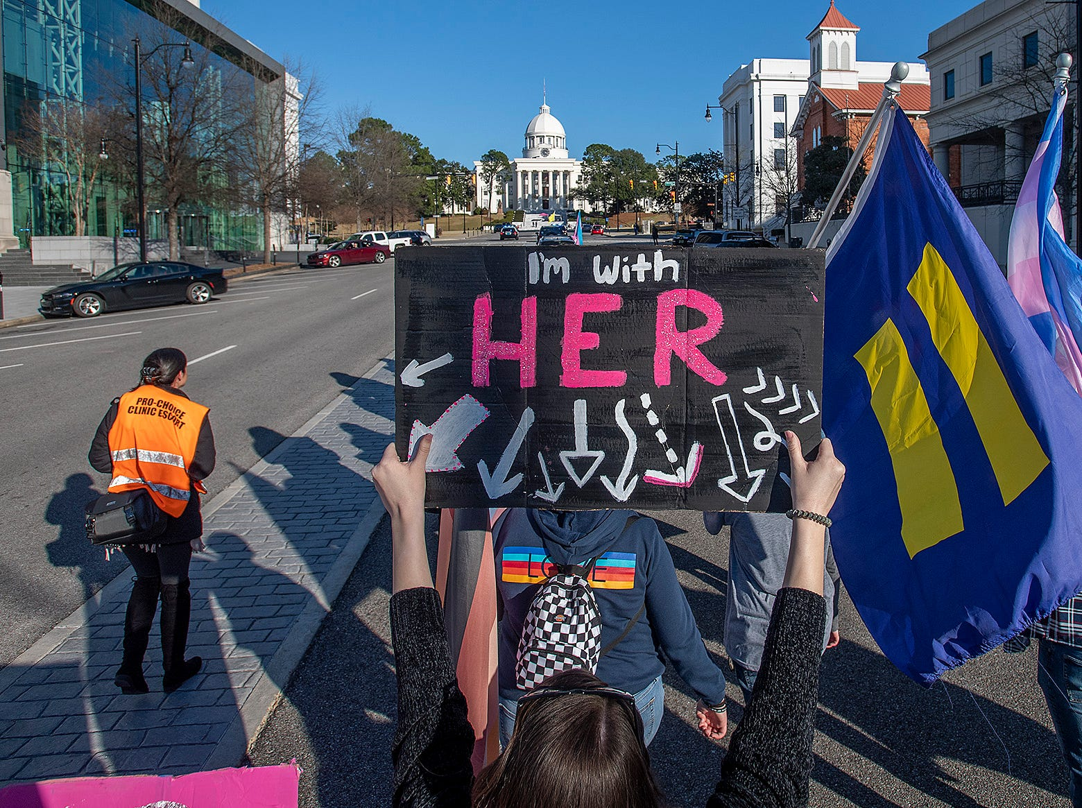 Marchers walk up Dexter Avenue to the State Capitol Building during the Montgomery Women's March in downtown Montgomery, Ala., on Saturday January 26, 2019.