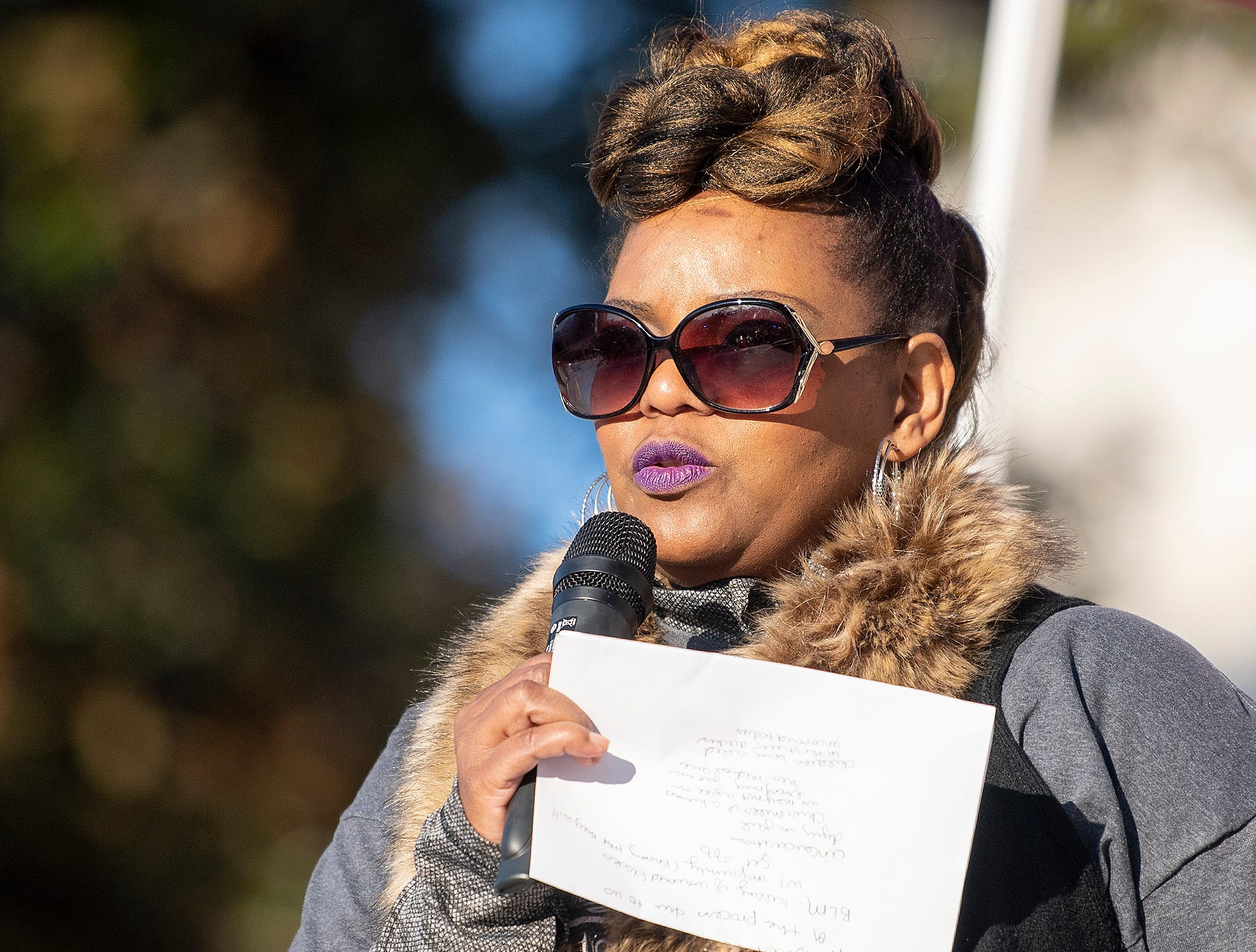 Karen Jones speaks during the Montgomery Women's March in downtown Montgomery, Ala., on Saturday January 26, 2019.