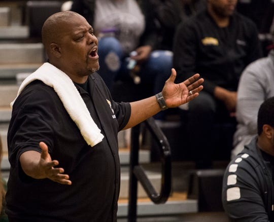 Carver head coach James Jackson complains about a call at Carver High School in Montgomery, Ala., on Friday, Jan. 25, 2019. Lee defeated Carver 57-50.