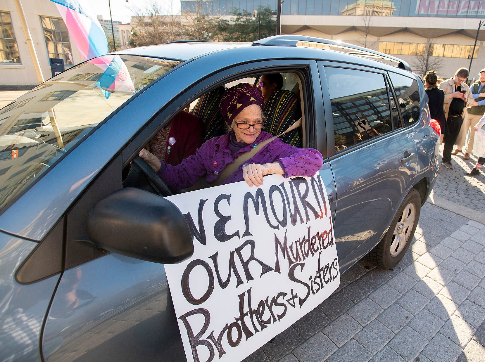 Meta Ellis of Montgomery PRIDE United leads the Montgomery Women's March in downtown Montgomery, Ala., on Saturday January 26, 2019.