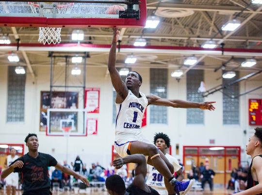 Central's Damarius Pegues, shown here earlier this season against Arsenal Tech, scored 14 points on Friday in the win over McCutcheon.