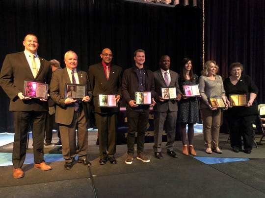 Smyrna High inducted the second tier of its inaugural Hall of Fame Class Saturday. Pictured (l-r) are Adam Smotherman, Harry Gill, George Miller, Sonny Gray, Luke Powell, Rebecca Rogers Kappers, Patricia 'Patty' Patton Tanner and Lucy 'Jene' Barrett McDaniel. Not pictured is Kim Webb.