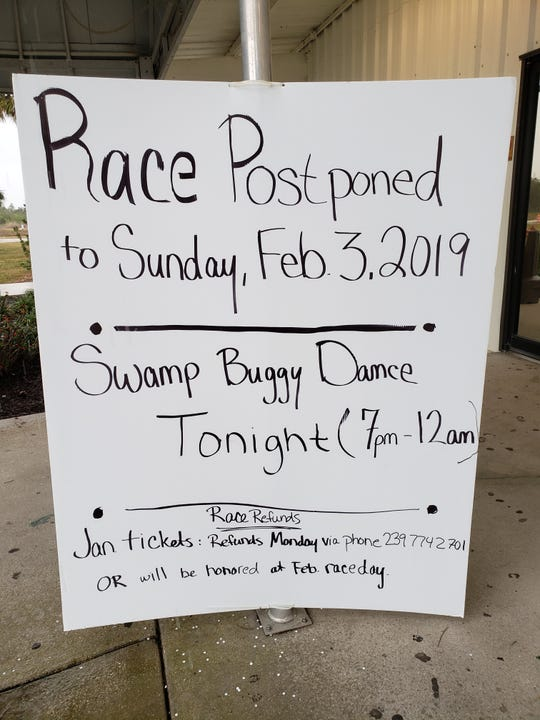 The Swamp Buggy Races Winter Classic was rained out on Saturday, Jan. 26, 2019. This sign was posted outside the box office at Florida Sports Park, home on the races, on Saturday morning. The event was postponed for one week, to Sunday, Feb. 3.