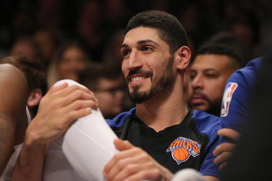 "Jan 25, 2019; Brooklyn, NY, USA; New York Knicks center Enes Kanter (00) reacts as fans chant ""we want Kanter"" during the fourth quarter against the Brooklyn Nets at Barclays Center."