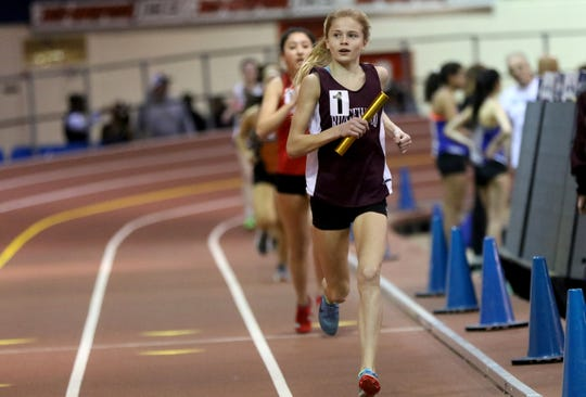 Camryn Wennersten , here bringing home first place for Ridgewood in he 4-x-1,600 meters at the Bergen County Relay in New York City on Jan. 23, 2019, has been invited to race in the Millrose Games high school mile on Feb. 9.