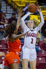 New Mexico State's Brooke Salas puts up a 3-point shot against UT Rio Grande Valley.