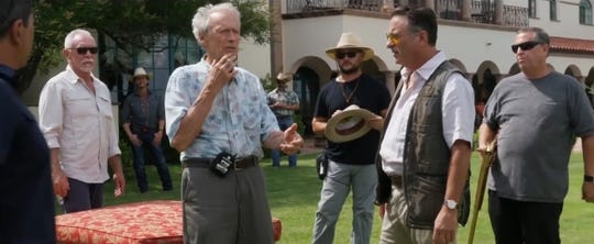 "Clint Eastwood, left, speaks to actor Andy Garcia during the filming of ""The Mule"" at a house in Picacho Hills that served as the Mexican mansion of drug lord."