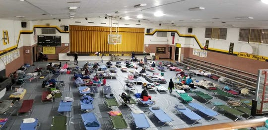 Shelters, like this one in El Paso, house migrants seeking asylum before they are sent elsewhere in the United States. Students from the Burrell College of Osteopathic Medicine have been helping to give the migrants medical exams.