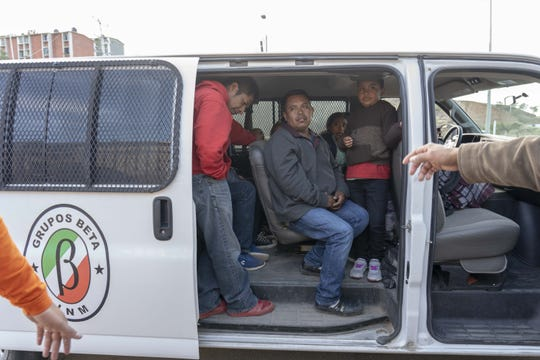 Recently deported migrants arrive in Nogales, Mexico at a shelter.