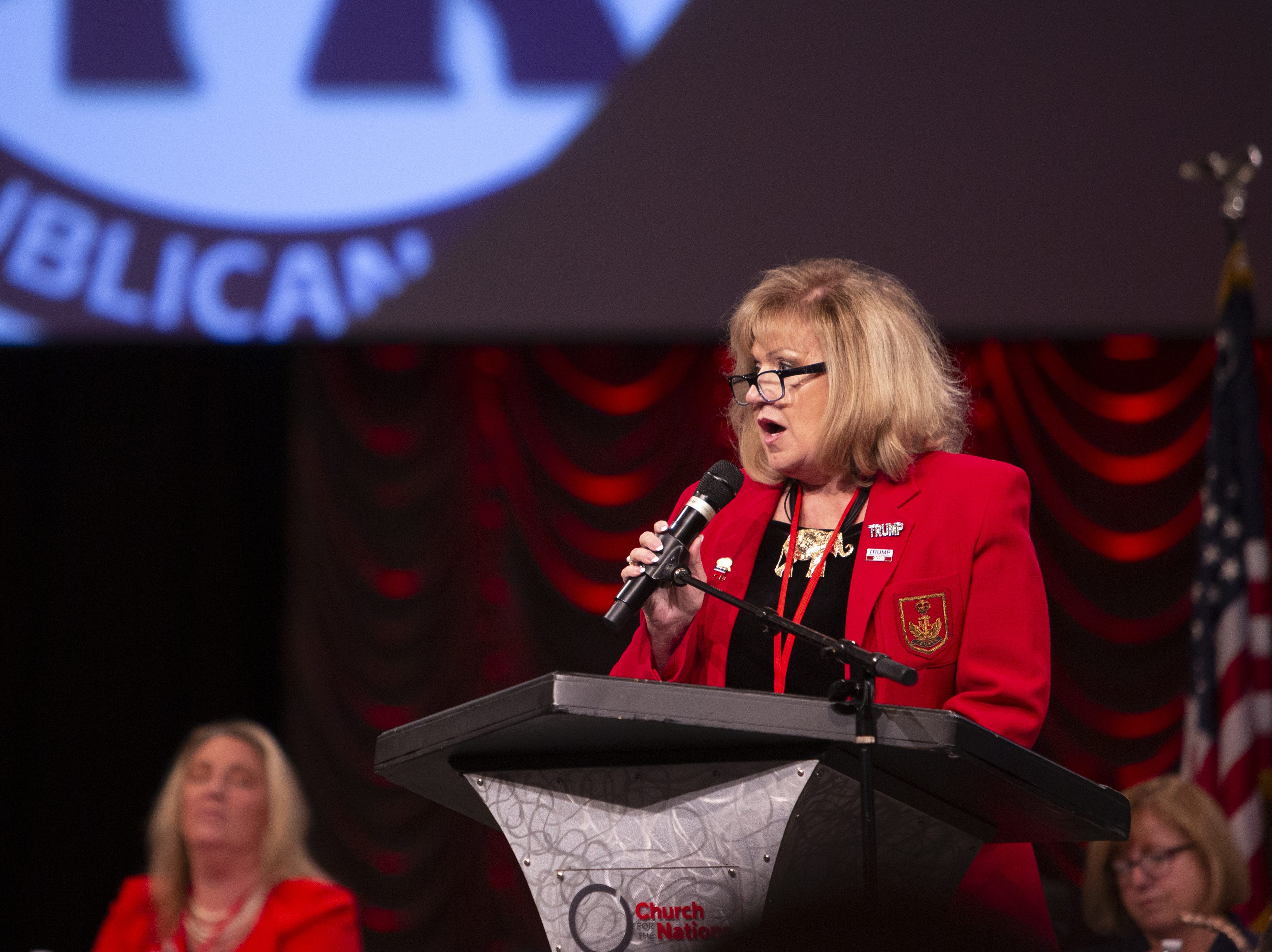 Lori Klein Corbin speaks during the Statutory Meeting of the State Committee of the Arizona Republican Party at Church for the Nations on Saturday, Jan. 26, 2019.