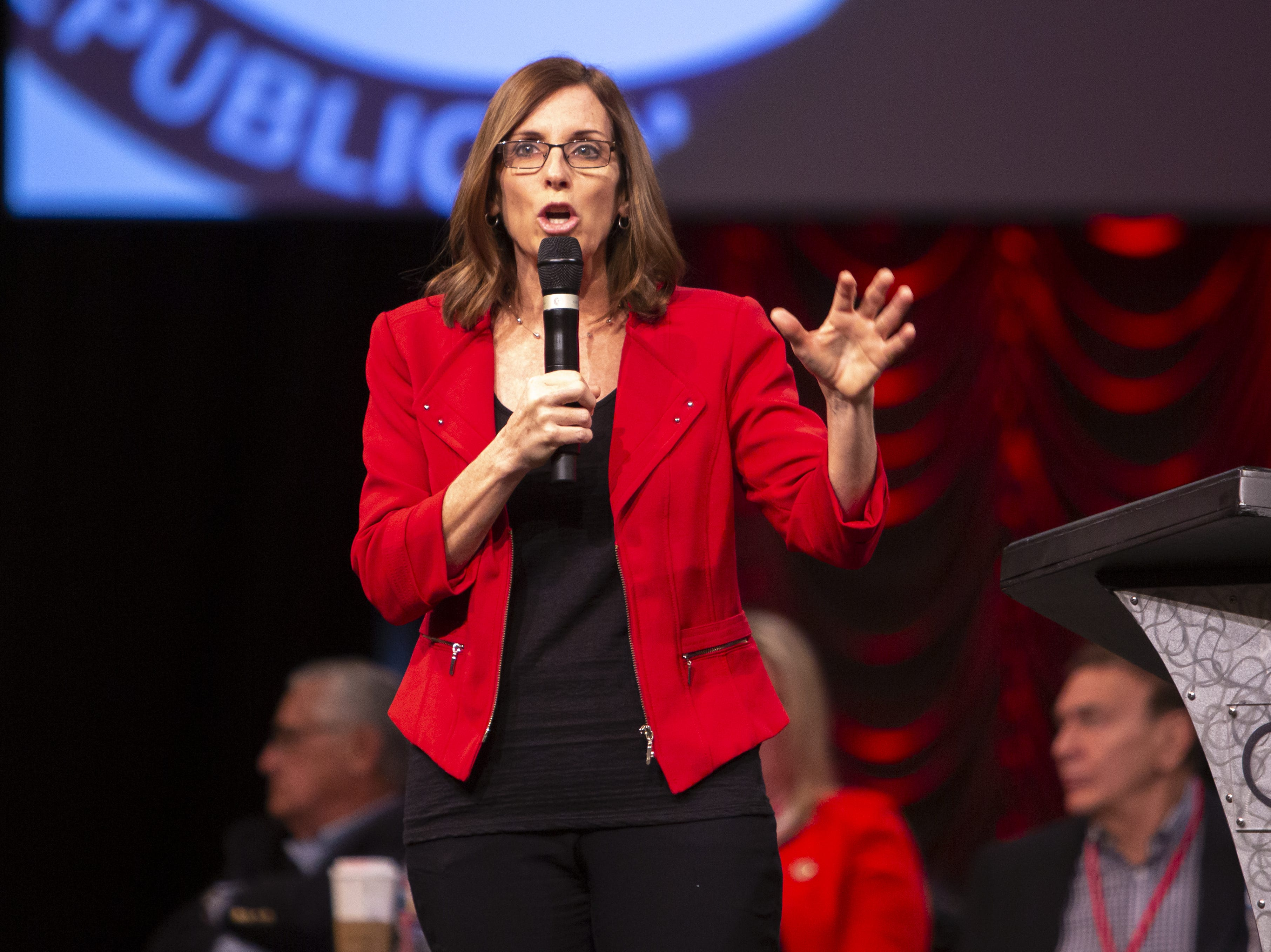 Sen. Martha McSally speaks during the Statutory Meeting of the State Committee of the Arizona Republican Party at Church for the Nations on Saturday, Jan. 26, 2019.