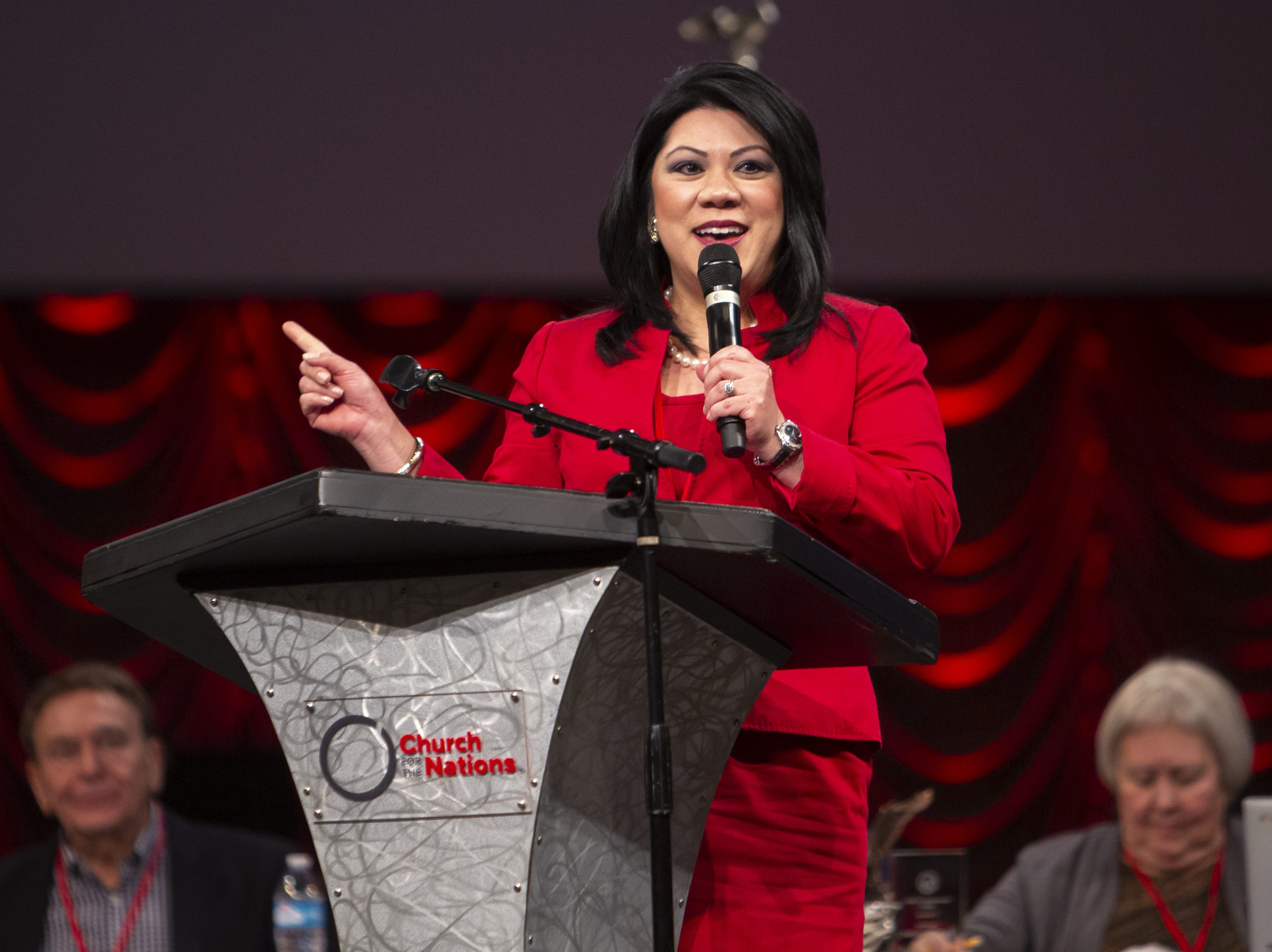 Recently elected Arizona State Treasurer Kimberly Yee speaks during the Statutory Meeting of the State Committee of the Arizona Republican Party at Church for the Nations on Saturday, Jan. 26, 2019.