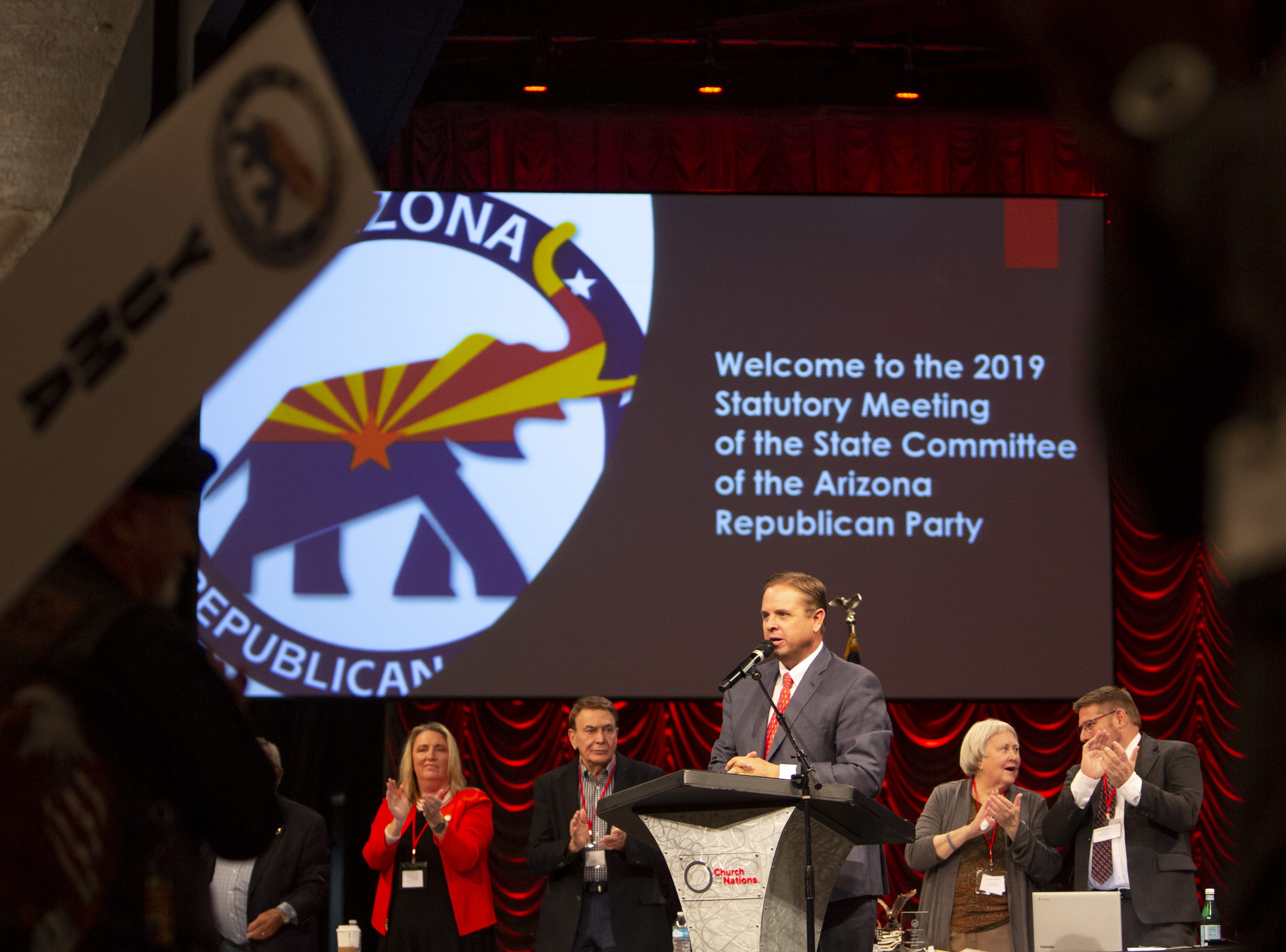 Chairman of the Arizona Republican Party Jonathan Lines speaks during the Statutory Meeting of the State Committee of the Arizona Republican Party at Church for the Nations on Saturday, Jan. 26, 2019.
