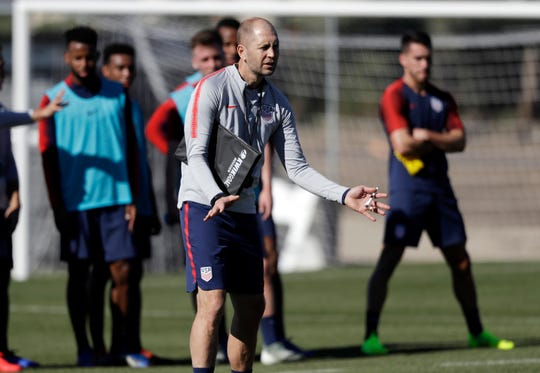 United States head coach Gregg Berhalter instructs players during a soccer training camp Monday, Jan. 7, 2019, in Chula Vista, Calif.