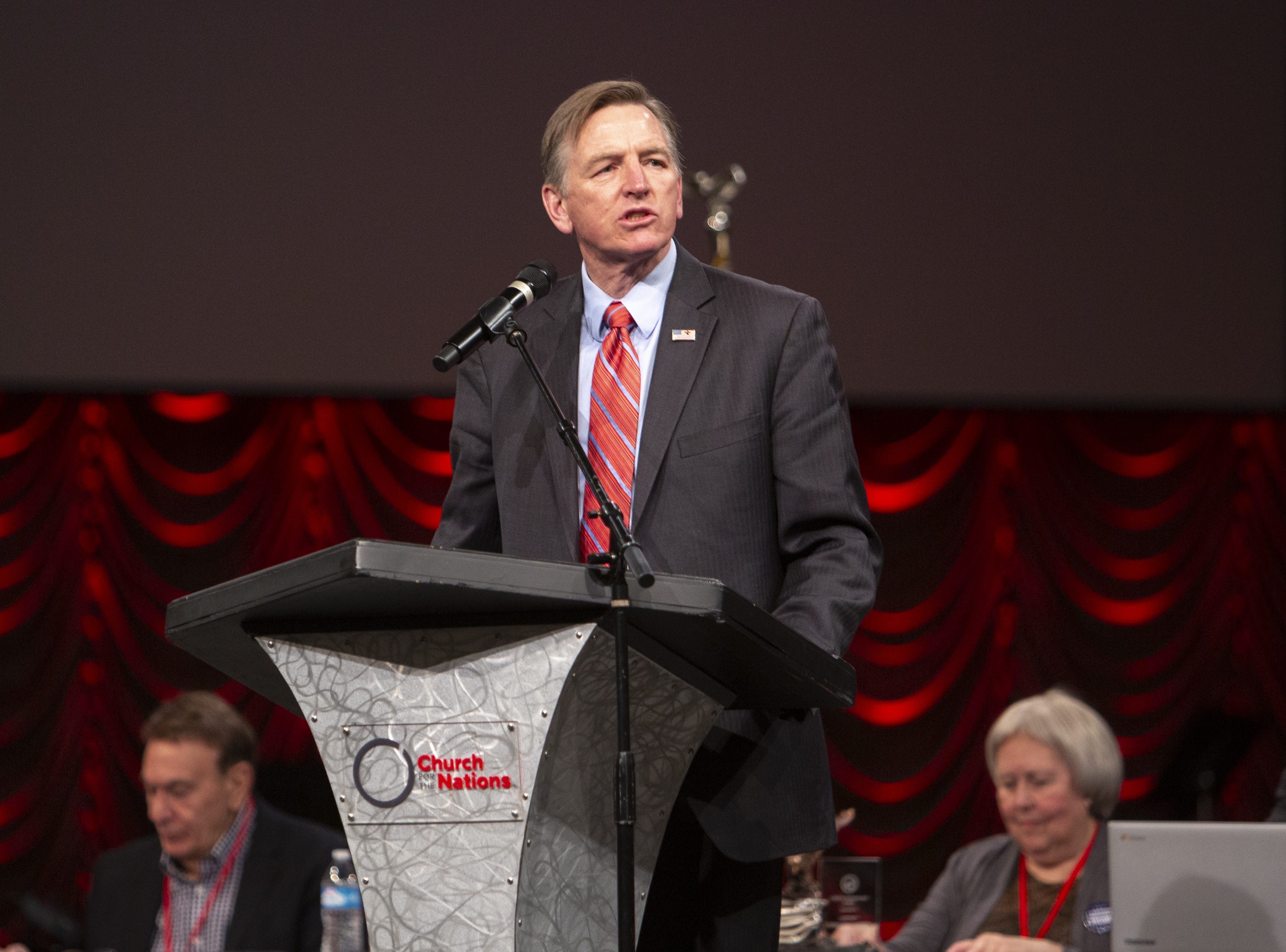 Rep. Paul Gosar speaks during the Statutory Meeting of the State Committee of the Arizona Republican Party at Church for the Nations on Saturday, Jan. 26, 2019.