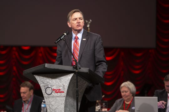 Rep. Paul Gosar speaks during an Arizona Republican Party meeting at Church for the Nations on Saturday, Jan. 26, 2019.